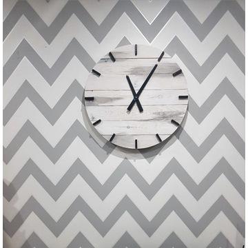 DiO Zegar ścienny z drewna duży handmade biały