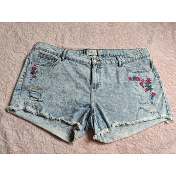 Spodenki Janina jeans kwiaty dziury R.48