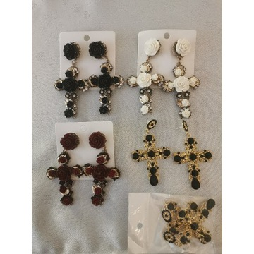 7 kompletów Kolczyki krzyż krzyże złote piekne