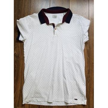 męska koszulka polo - Esprit - biały + granatowy