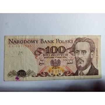 Stare banknoty PRL 100 złotych 1976 WARYNSKI