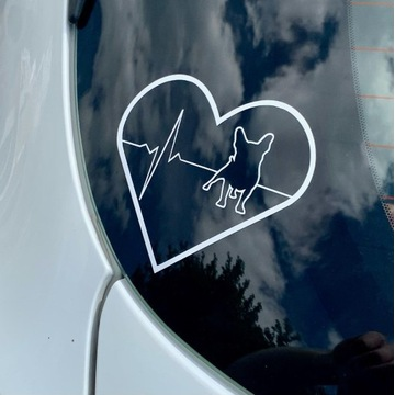 Naklejka na auto Serce Buldog Francuski 15cm