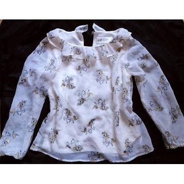 Elegancka bluzka z jednorożcami H&M, rozmiar 122