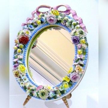 MISNIA porcelanowe lustro z kwiatowa dekoracja
