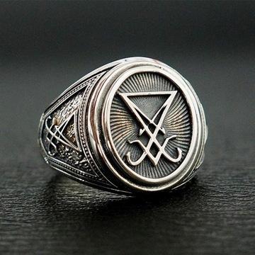 Gothic lucyfer szatan sygnet pierścienie r.12