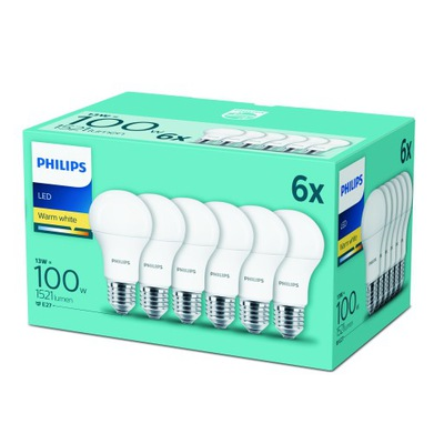 комплект 6x Лампа LED E27 13W=100W Philips 1600LM