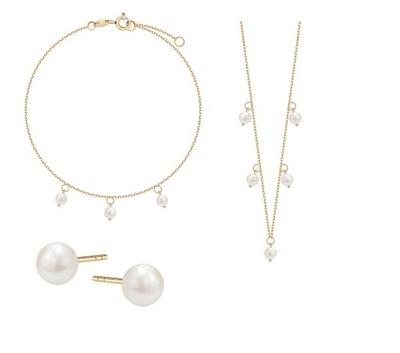 Zestaw biżuterii YES srebro pozłacane perełki