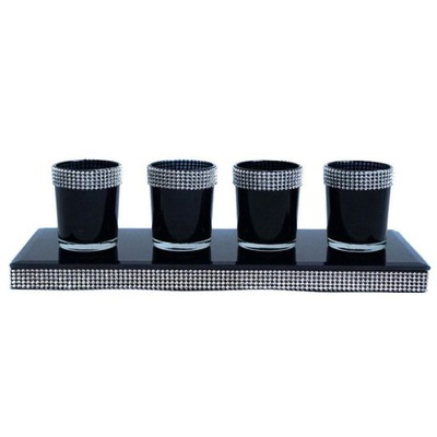 Kit black 4 svietniky zásobník s kamienkami GLAMOUR