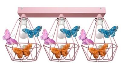 Svietidlá do detskej komory - VEĽKÉ stropné Svietidlo BUTTERFLY 3 rose - môžete LED