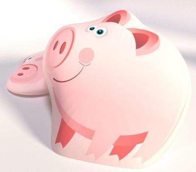 Poduszka przytulanka duża śr. 40 świnka różowa B-3
