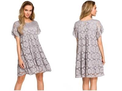 2a94dddc5d sukienka koronkowa falbany kwiaty ażurowa włoska S - 7262495821 ...