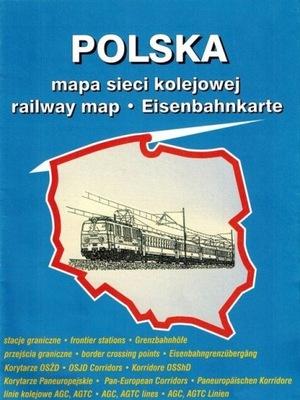 POLSKA, EUROPA - SIEĆ KOLEJOWA - MAPA SKŁADANA
