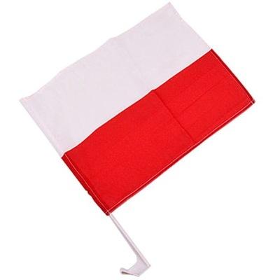 FLAGA POLSKI SAMOCHODOWA Z UCHWYTEM 45X30CM