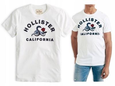 t-shirt biały koszulka logo HOLLISTER USA roz. M