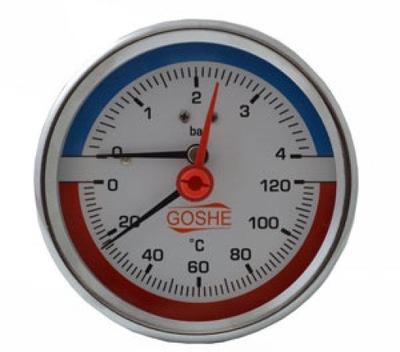 Termomanometer 80 mm zadný 0-4 bar 120 C axiálny