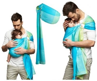 Šatky, šály na nosenie detí - WOMAR kruhový šál N16 ECO ZAFFIRO 0-13kg
