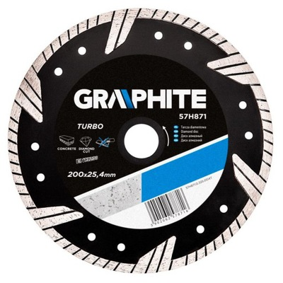 диск алмазный 200x25 мм, Турбо Graphite 57H871