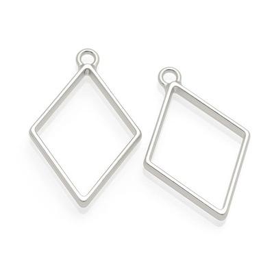 BEZ233 Кулон рамка для смолы РОМБ серебро мат .