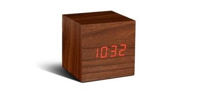 Stôl hodiny budík Kocka Orech / Červená LED