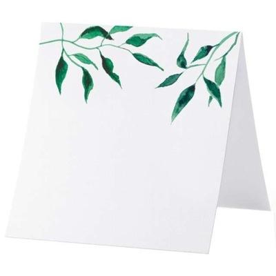 WIZYTÓWKI na stół LIŚCIE białe WINIETKI ślub x25