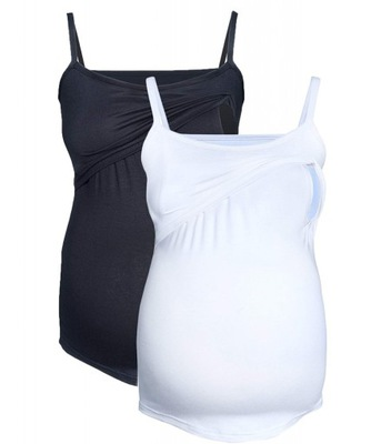 topy bluzki ciążowe, do karmienia czarny/biały L