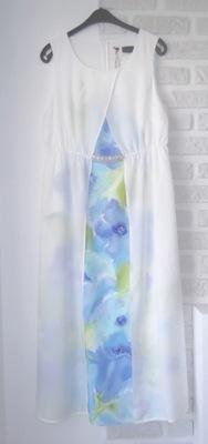 Sukienka malowana ręcznie 42 NOWA biała ślubna