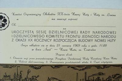 NOWA HUTA XX LAT NOWEJ HUTY ZAPROSZENIE 1969