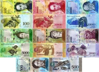 # комплект ВЕНЕСУЭЛА - 500 -100000 BOLIVARES - UNC