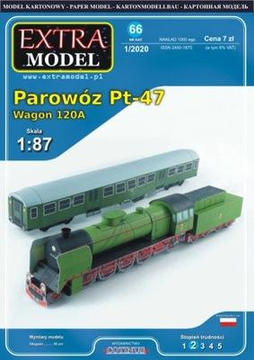 Modele____Parowóz Pt-47, Wagon 120A ___Extra Model