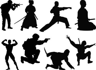 Naklejki sztuki walki żołnierz rycerz 15cm kolory