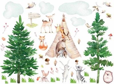 наклейки__ на_ стену звери животные в лесу
