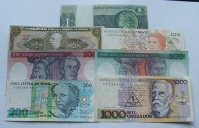 ZESTAW BANKNOTÓW BRAZYLIA - Z PACZKI BANKOWEJ
