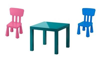 IKEA nedostatok tabuľka nastavenia TURA + 2 x detská stolička MAMMUT