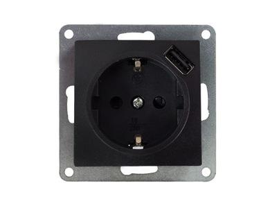 Posteľ zásuvky s USB-BLACK-MODERNÉ