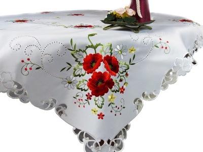 скатерть вышивка красное маки полиэстер 150x220 Белый