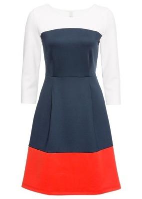 ccb171940b Granatowo - czerwona sukienka wesele 38 - 6407841408 - oficjalne ...