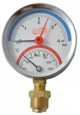 Termomanometer 80 mm spodný 0-4 bar 120 ° radiálny