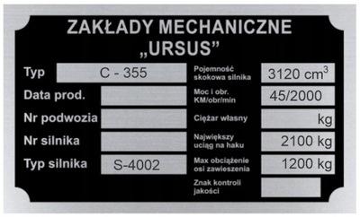 ПАНЕЛЬ МАРКИРОВОЧНАЯ URSUS C 355 C355 - WYBITA