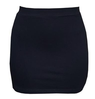 XL KRÓTKA CZARNA tuba obcisła spódnica mini LATO