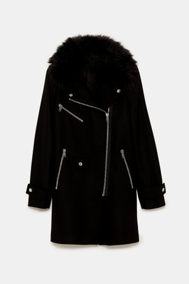 2019 wełniany płaszcz w stylu motocyklowym Zara L