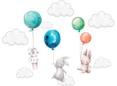 наклейки на стену Кролики воздушные шары для детей 100