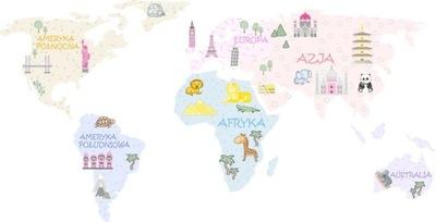 Nálepka s farebnou mapou sveta pre deti 200 cm