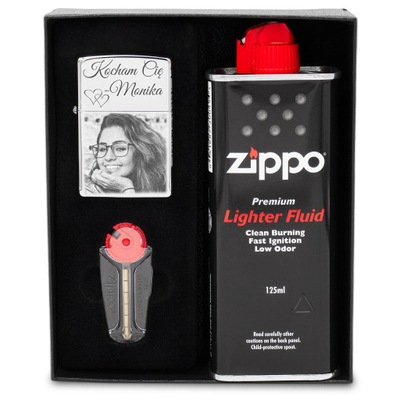 Зажигалка ZIPPO 250 Chrome ? гравировкой комплект