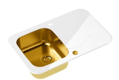 QUADRON Umývadlo sklenené WHITE/GOLD GLEN