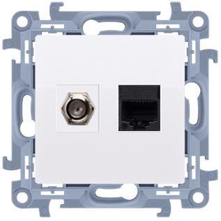 SIMON 10 Konektor pre anténu+počítača F+RJ45 biela