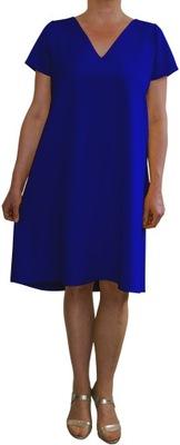 Sukienka trapez elegancka wizytowa chabrowa r. 42