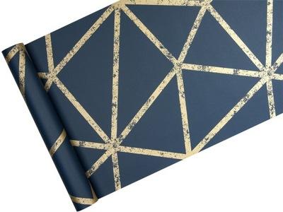 ОБОИ золотой геометрическая ПАУТИНА темно-синий фон