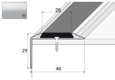Планка лестница A38 против скольжения 90см серебро