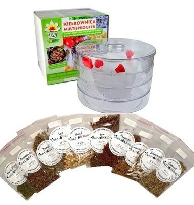 KIEŁKOWNICA 3 ЧАШКИ + 10 пакеты Семена на ростки