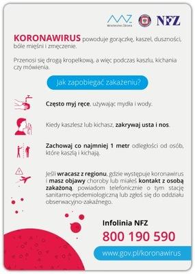 KORONAWIRUS Jak zapobiegać zakażeniu? naklejka A4